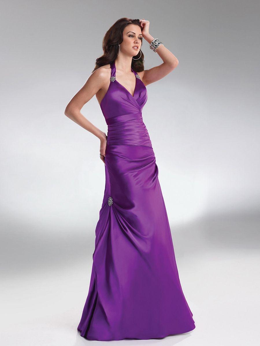 Purple Satin Halter Sweetheart Neckline Sleeveless Floor-Length ...