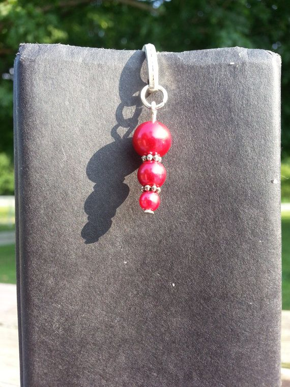 Tiered Pearl Beaded Charm Dangle Bookmark by StoneCharms on Etsy