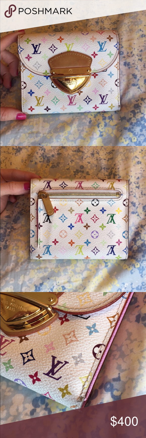 Louis Vuitton Wallet 100% authentic. Has some minor wear (seen in 3rd pic). Has some minor scuffing seen on back of wallet (most likely will come out if cleaned). Overall, still in very good condition and everything in tact. Has pink interior. Louis Vuitton Bags Wallets