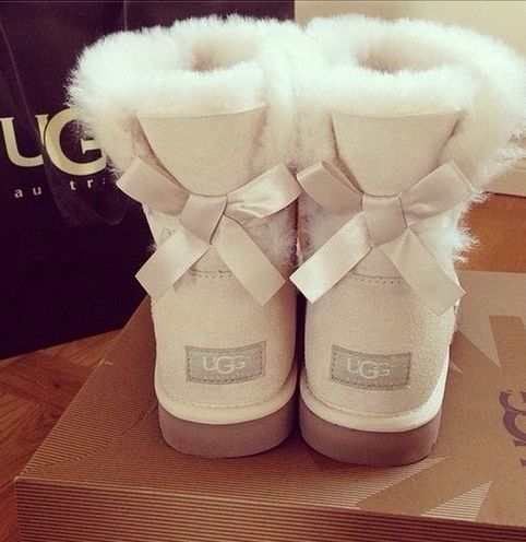 all white uggs with bows