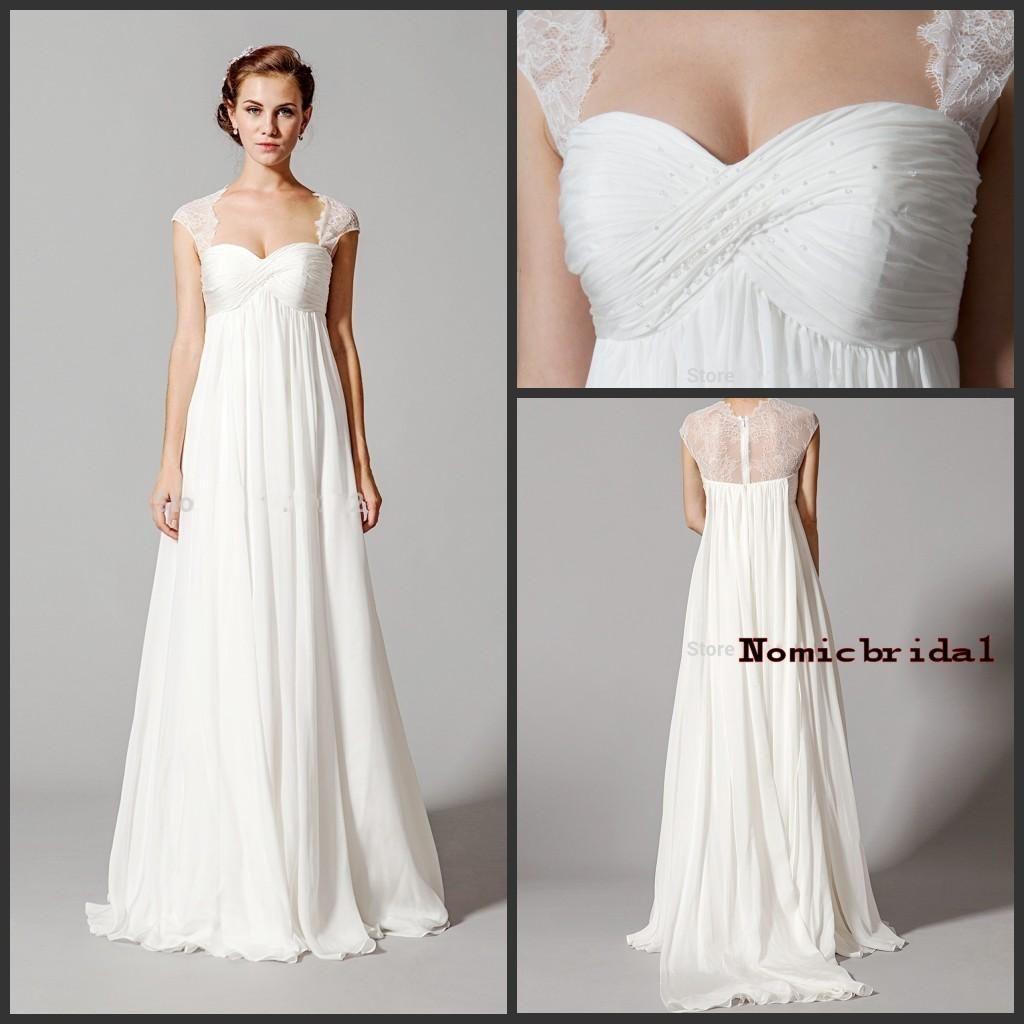 White Lace Empire Waist Wedding Dresses 2016 Elegant