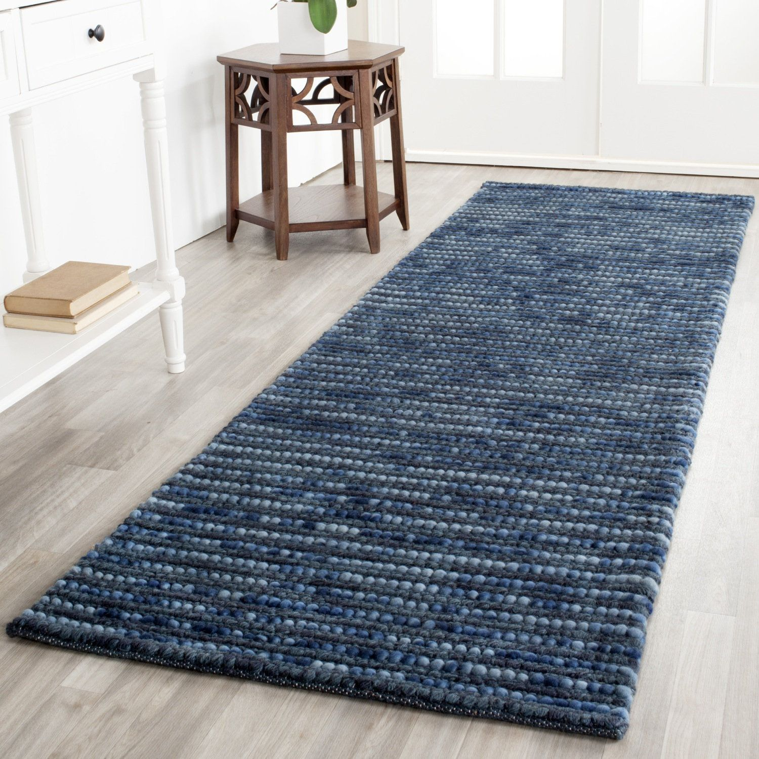 Blue Silver Wool Geometric Graphic Solid Runner Rugs Use