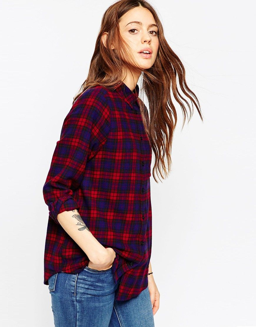 ASOS Boyfriend Shirt in Red and Purple Check