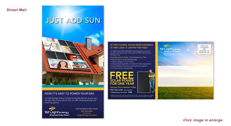 1st Light Energy Just Add Sun Campaign Direct Mail Advertisement Marketing Agency Solar Free Solar
