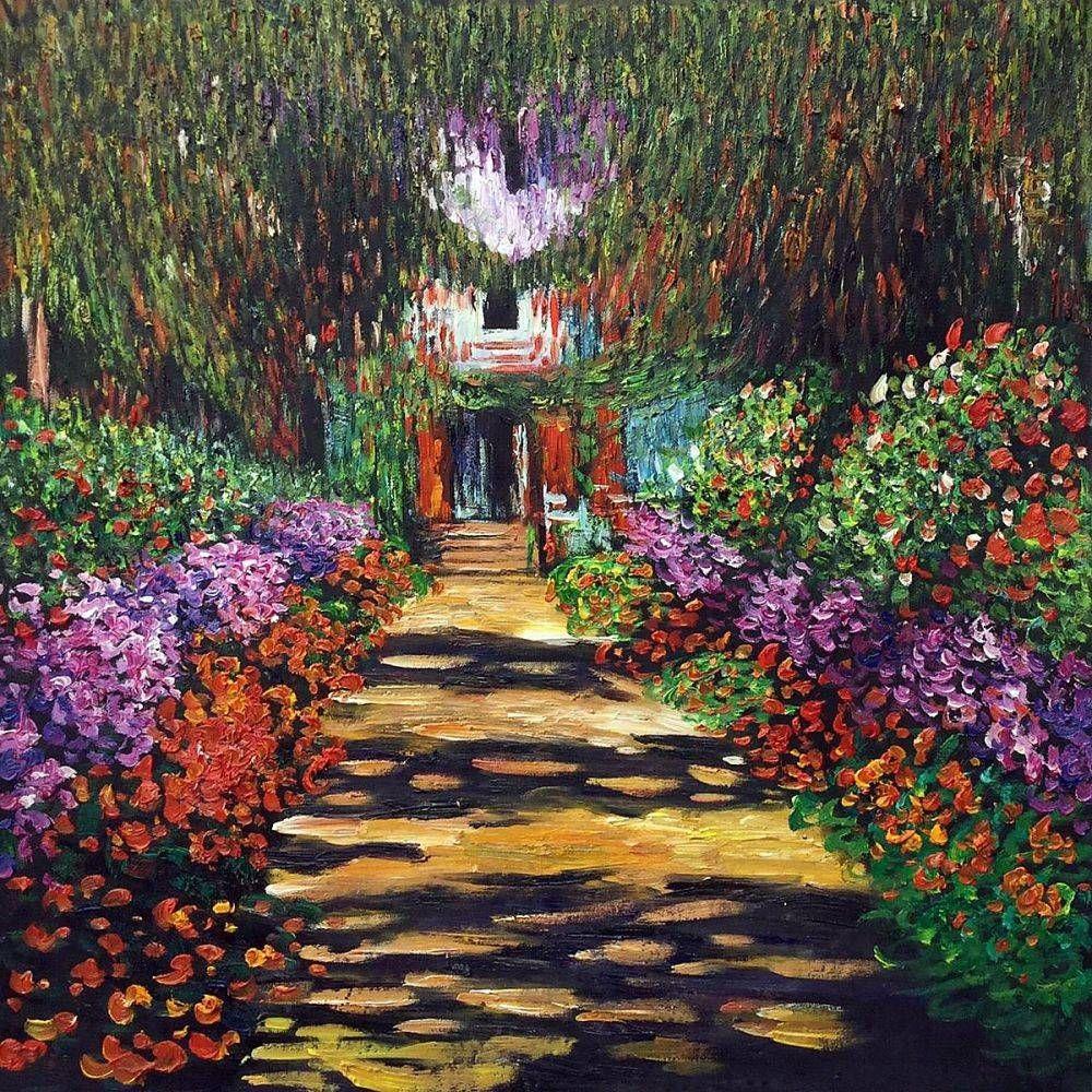 Garden path at giverny reproduction painting at