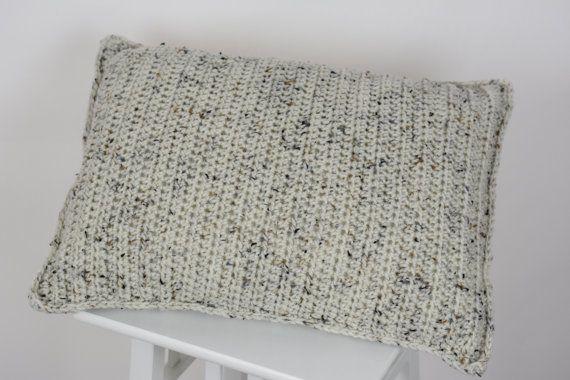 Crochet Pillow Cover Beige Aran Fleck