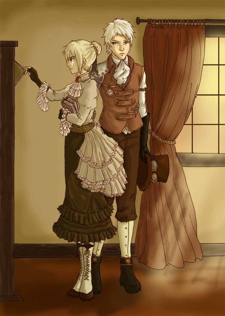 APH: Steampunk by tenshiamanda.deviantart.com on @deviantART - Gilbert and Nyotalia England