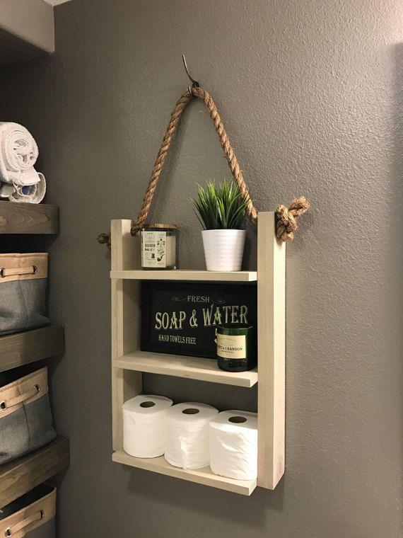 Bathroom Farmhouse Ladder Shelf Brown Walnut Large Modern