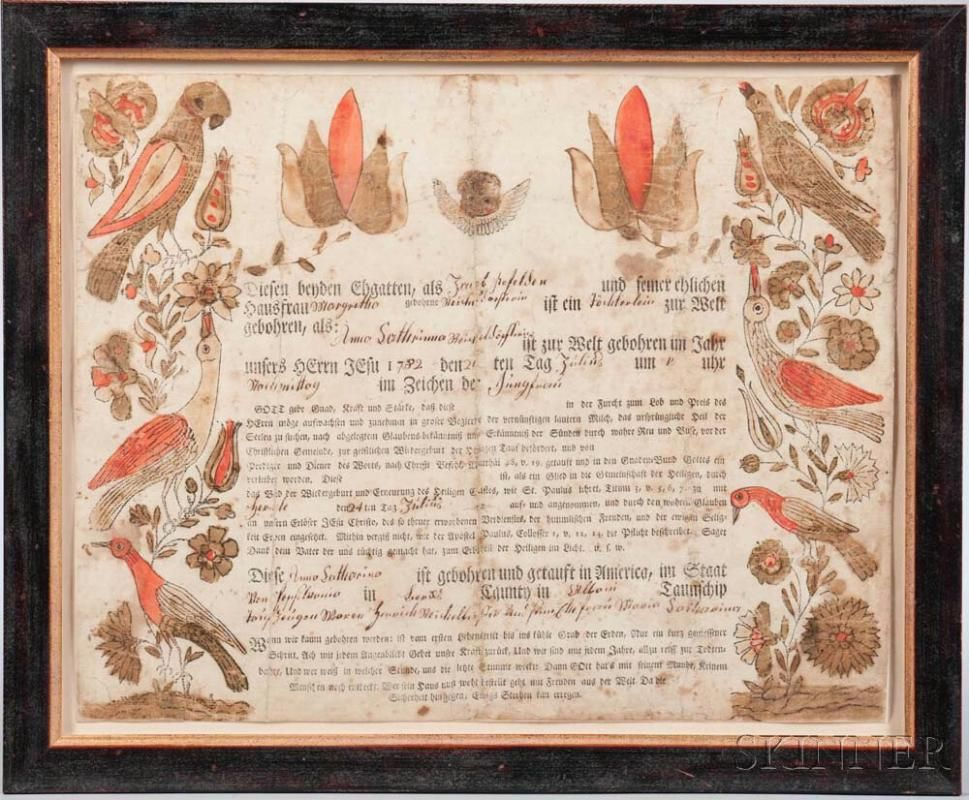Printed And Watercolor Decorated Birth Certificate Fraktur Price