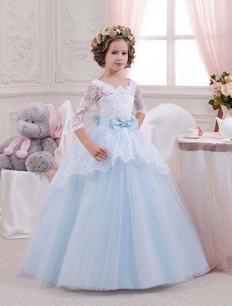 White and Blue Lace Flower Girl Dress - Birthday Wedding Party ...
