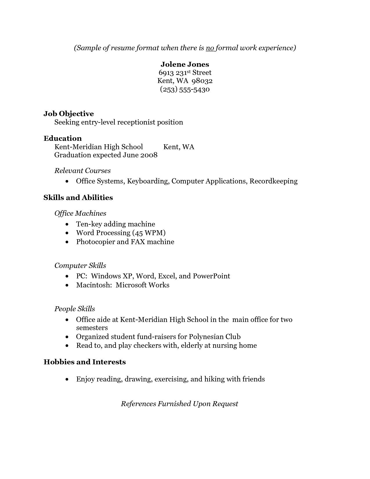 sample resume format for high school graduate with no