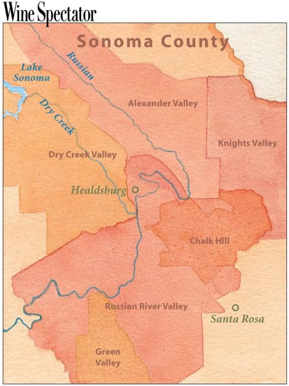 The Key Wine Regions of Sonoma Country Wine Region Maps