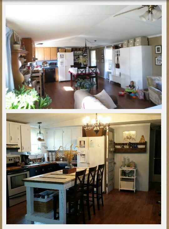 What Are Mobile Home Cabinets Made Of Part - 39: Top Pic Was The New Floors And I Tore Out The Kitchen Peninsula. Bottom Pic  Shows Painted Cabinets, New Counters Made Out Of Pallets, New Paint, ...