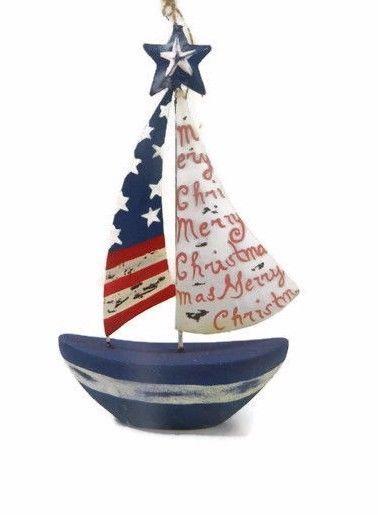 Pier 1 Ornament Sailboat Red White Blue Nautical Stars Stripes