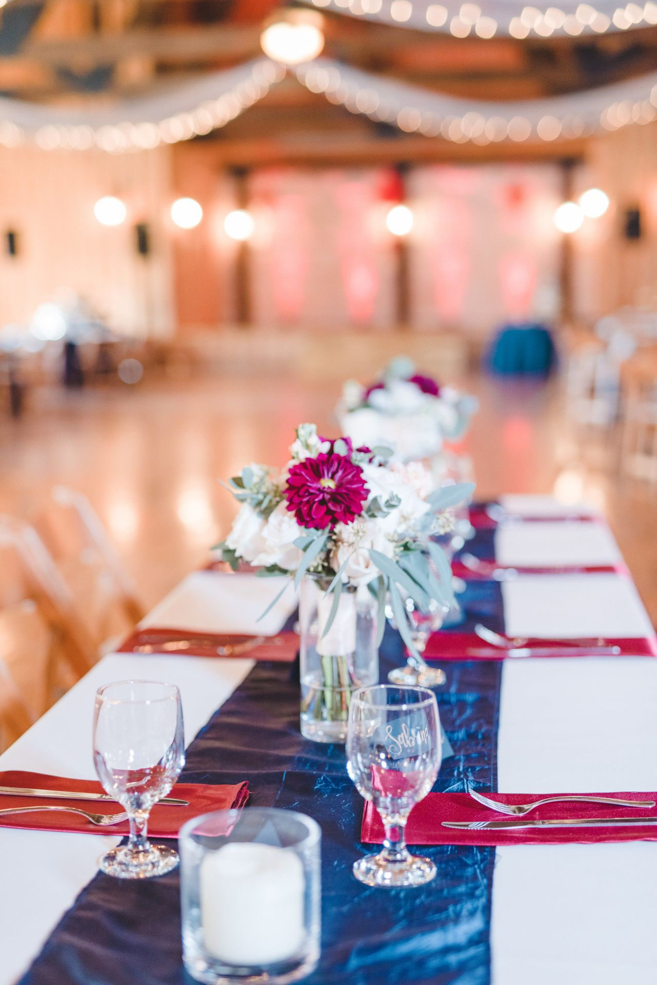 Maroon Blue And White Wedding Decorations