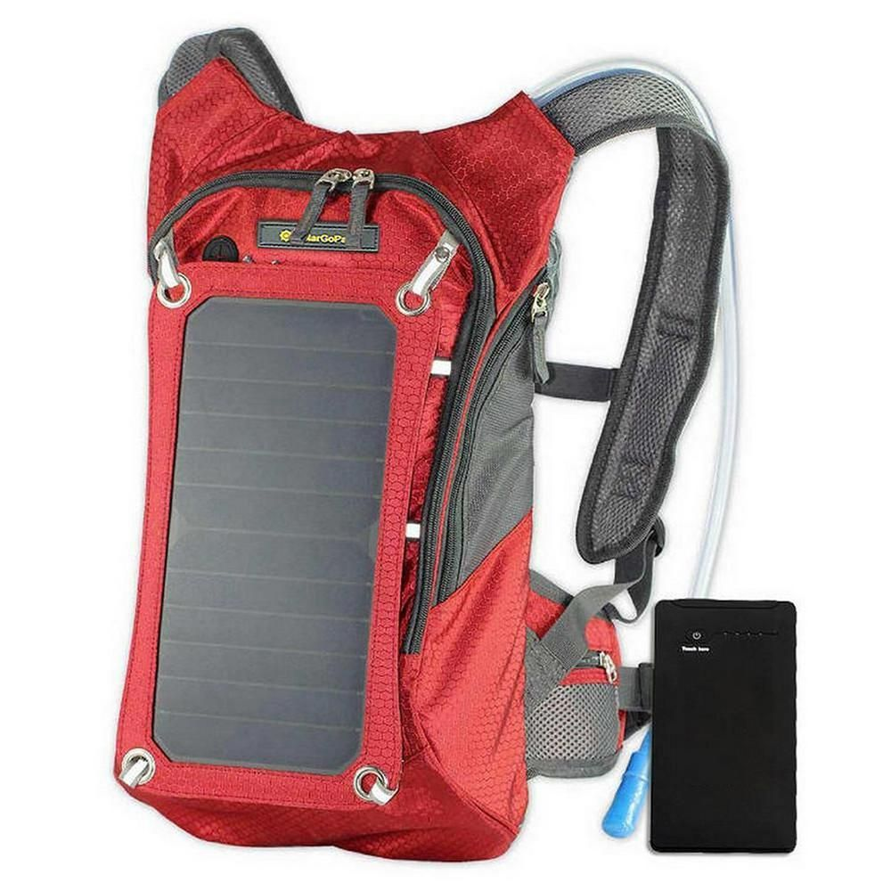 Solargopack Solar Hydration Backpack 10k Mah Battery 7 Watt Solar Panel In Red Ece 611 Red Solar Panels Solar Charger Solar