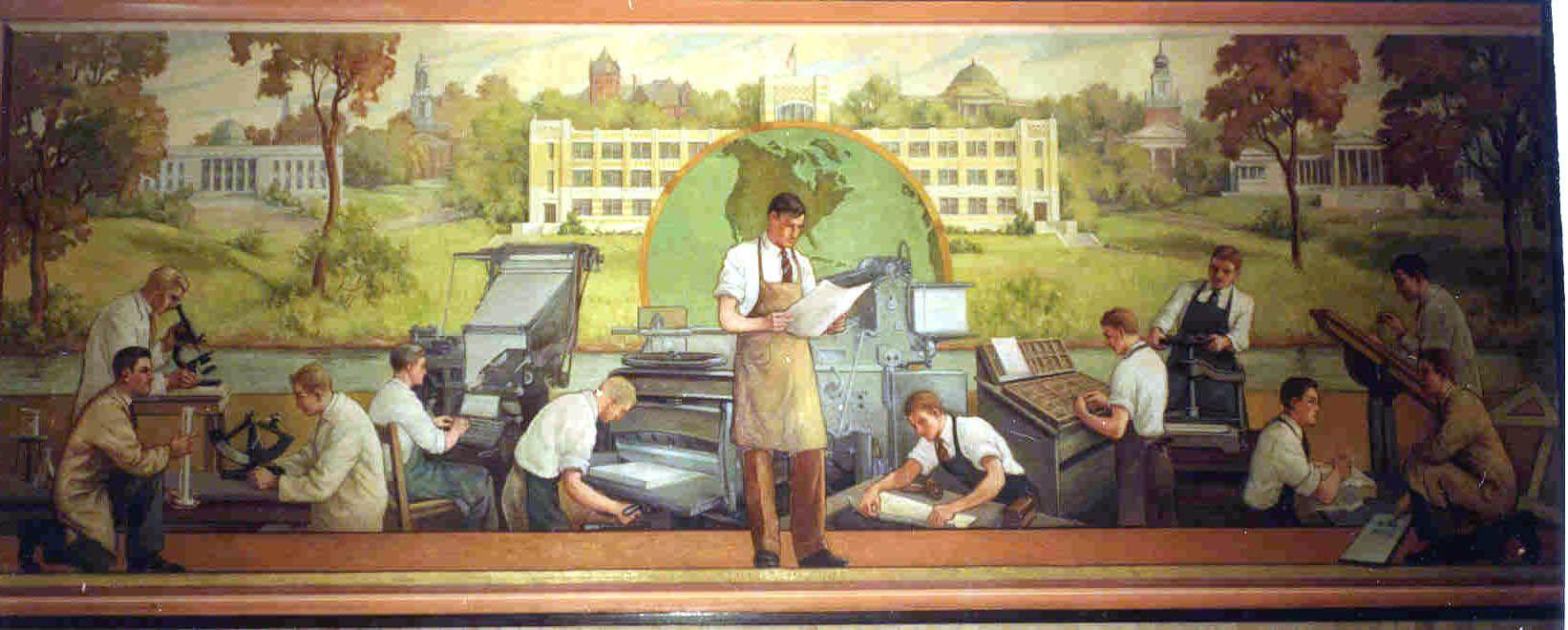 Wpa mural by eugene dychowski for the burgard school for Bufflon revetement mural