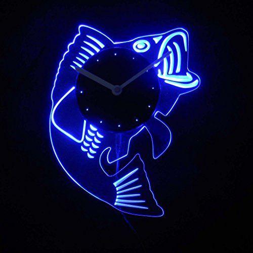 cnc2049b Bass Fish Man Cave Room Illuminated Edge Lit Bar