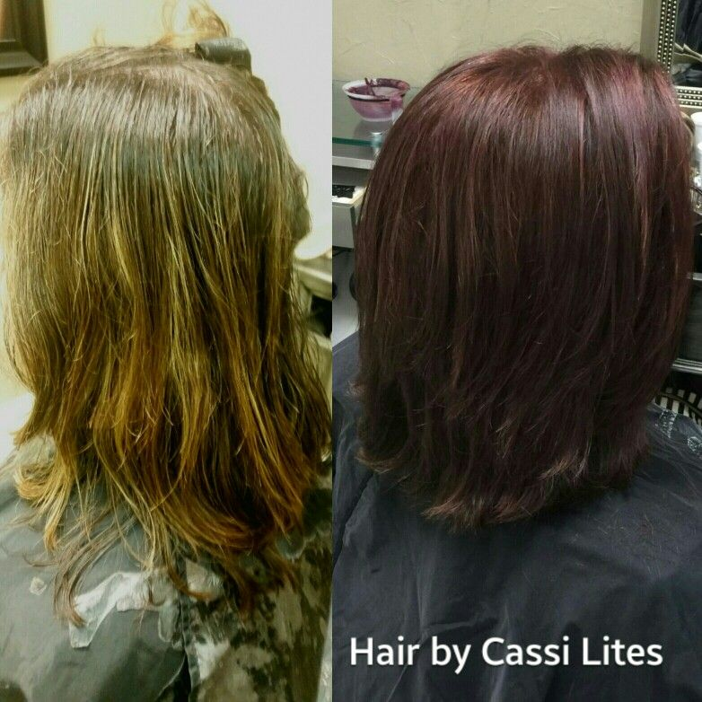Before and After- Black Cherry  Color and Cut