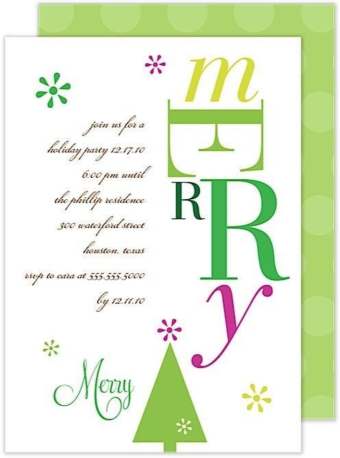 Merry Holiday Invitation Card by Modern Posh at InvitationBox