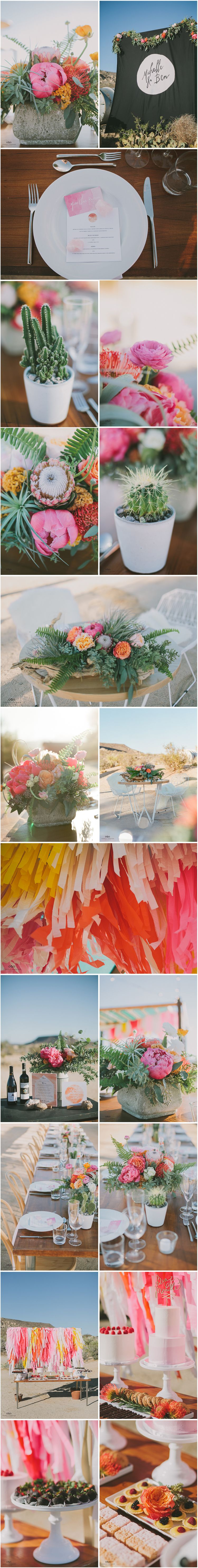 Beautiful table flowers (and cacti), and a fun, colorful streamer backdrop for…