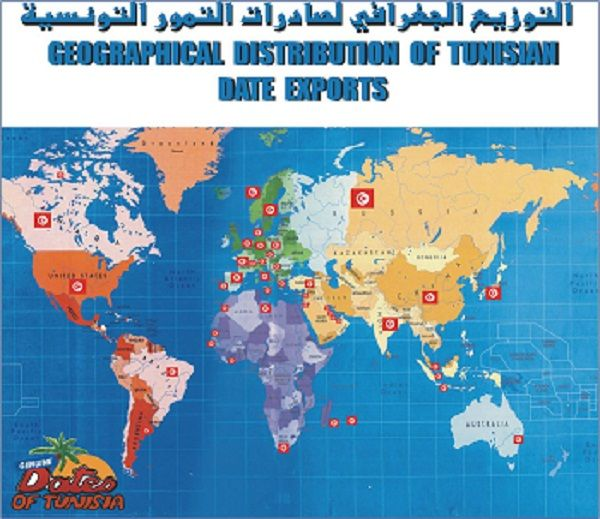 Carte Du Monde Dattes Tunisienne Geographical Distribution Of