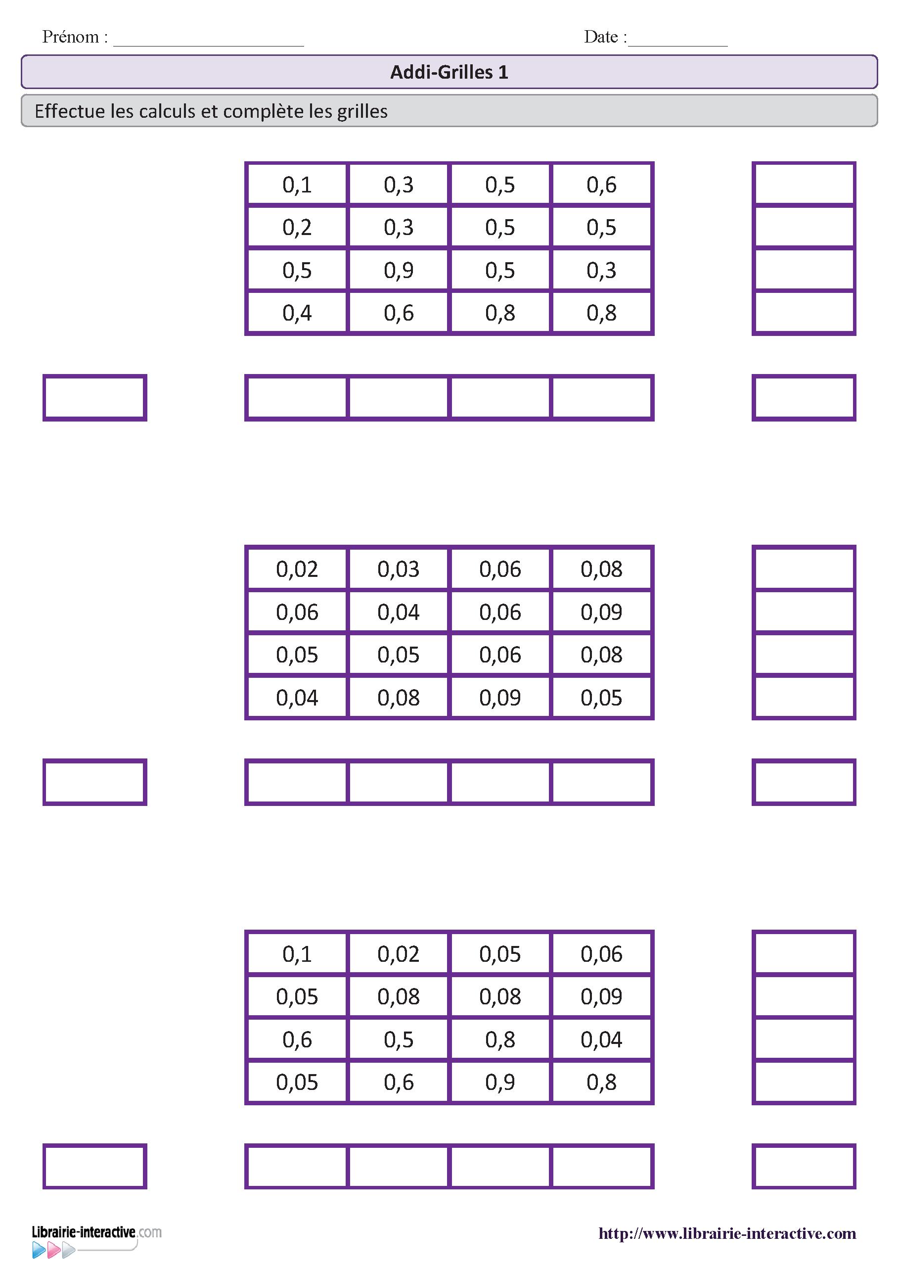 4 fiches de difficult variable avec des addigrilles pour le cm1 et le cm2 jeux et autonomie. Black Bedroom Furniture Sets. Home Design Ideas