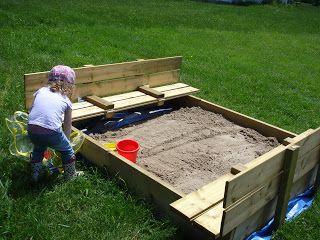 Sandbox With Folding Lid Instructions Sand Box Diy Yard Play