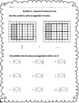 Go Math Practice - 4th Grade - 6.1 - Equivalent Fractions ...