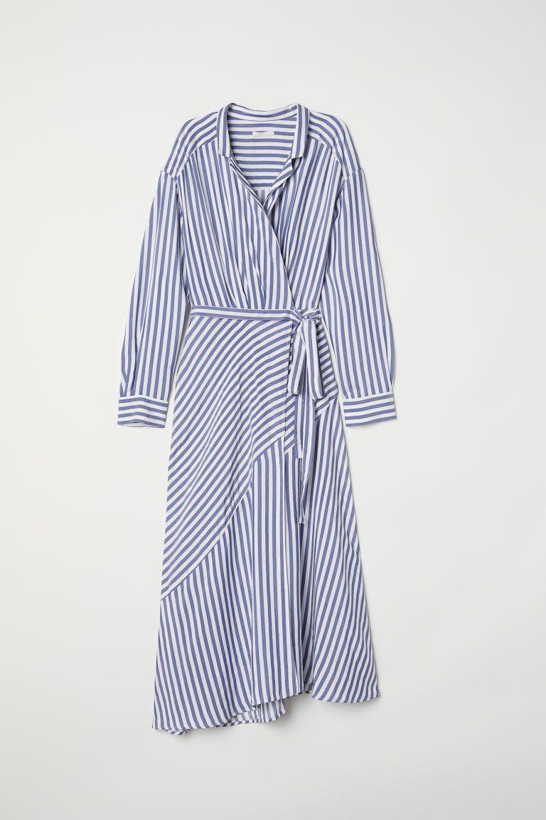 Striped Wrap Front Dress Blue White Striped Ladies H M Us Model Baju Wanita Desain Busana Gaya Model Pakaian [ 1152 x 768 Pixel ]