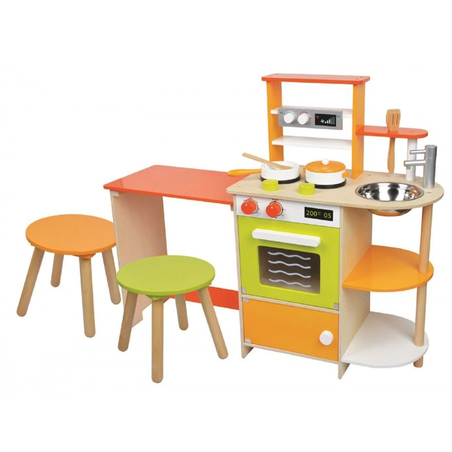 Lelin Wooden Childrens 2 In 1 Pretend Play Kitchen And