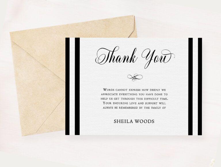 Black white sympathy thank you card memorial service