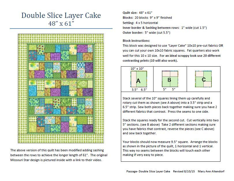 Double Slice Layer Cake Quilt Pattern Free :