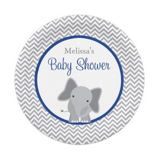 Cute Elephant Chevron Navy Blue Baby Shower Paper Plate  sc 1 st  Pinterest & Cute Elephant Chevron Navy Blue Baby Shower Paper Plate | Babies and ...