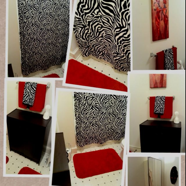 I Like The Red And Black In The Bathroom I Might Need To Go Towel Shopping Soon Zebra Bathroom Zebra Bedding Bathroom Decor Red and zebra bathroom decor