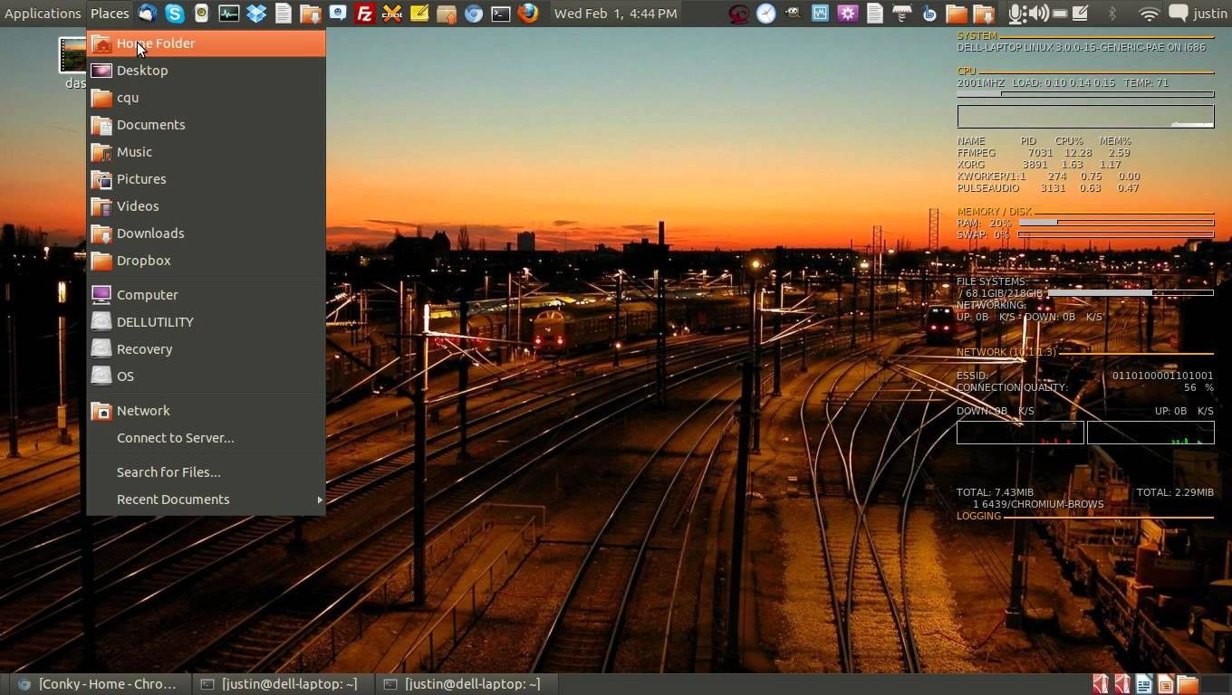 How To install a system monitor dashboard on linux (conky