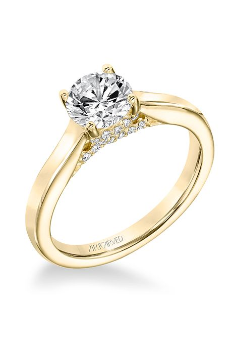 Style 31 V672ery Ina Clic Diamond Solitaire With Surprise Diamonds Engagement Ring 969 14k Yellow Gold Setting Only Artcarved