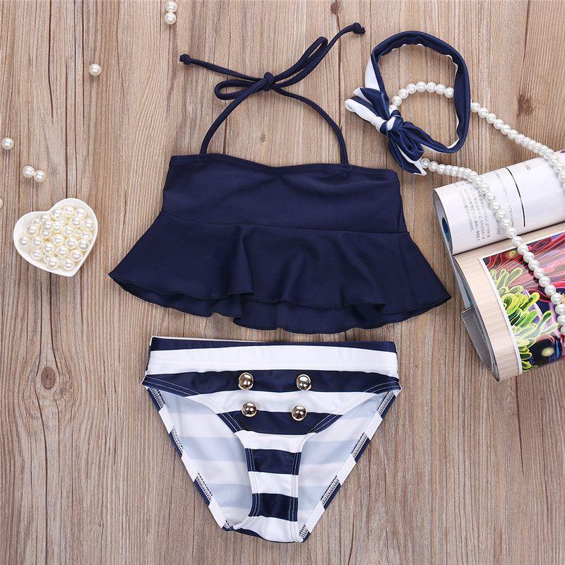 c9830a4ca4a50 Freies Verschiffen Neue Marke Kinder Mädchen Bikini Anzug Rüschen Navy Tops  Striped Tankini Badeanzug Bademode zwei stück schwimmen für mädchen