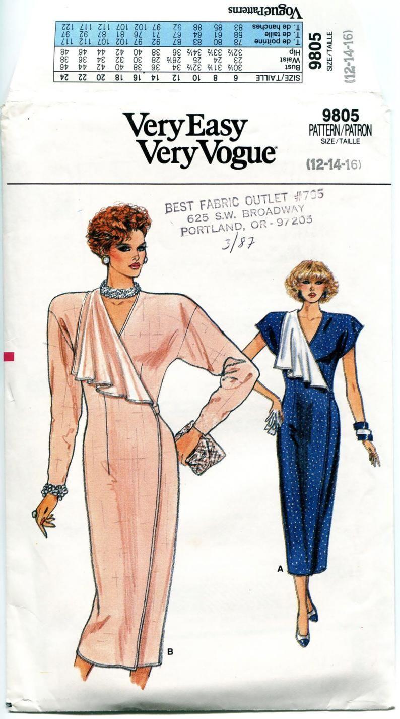 1980s Vogue Wrap Dress Patterns Cocktail Evening Dress Pattern Etsy Evening Dress Patterns Wrap Dress Pattern Vogue Dress Patterns [ 1425 x 794 Pixel ]