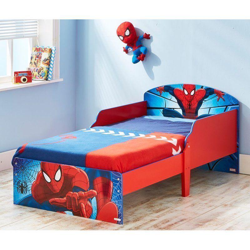 Wooden Toddler Bed Red Blue Spiderman Protective Guards Kids Inspiration Spiderman Bedroom Furniture Decorating Inspiration
