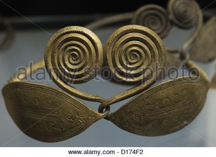Prehistoric. Art. Bronze Age. Belt ornaments. From a bog at Fjellerup, Funen. 700-500 BC. National Museum of Denmark. - Stock Photo