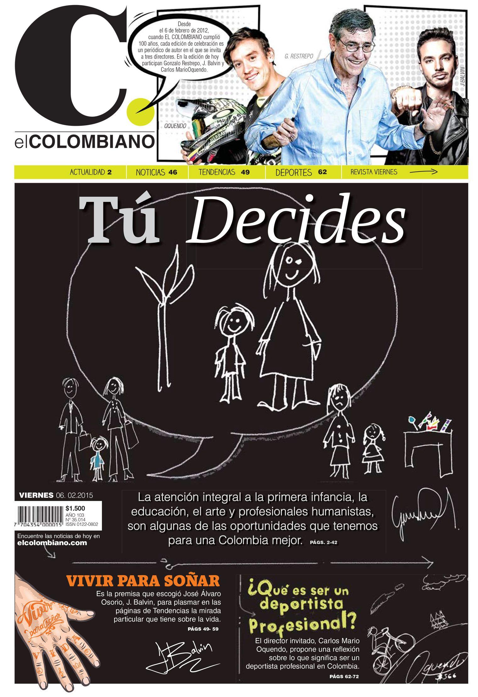Portada de El Colombiano para nuestra edición especial de aniversario. Hoy cumplimos 103 años de existencia. ¡Gracias por leernos!