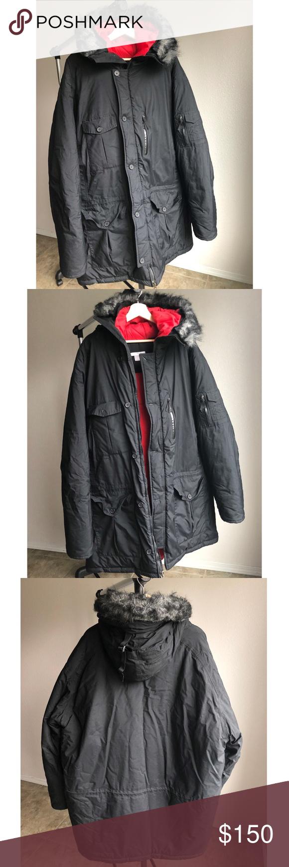 f9689c926415 NIKE Ski Snowboard Winter Puffer Coat Heavy XXL NIKE black and red heavy  winter jacket in