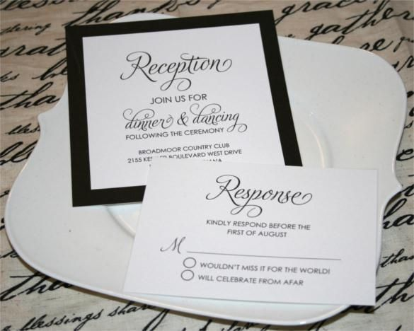 Wedding Invitations With Rsvp Cards  Wedding Reception - free wedding invitation samples by mail