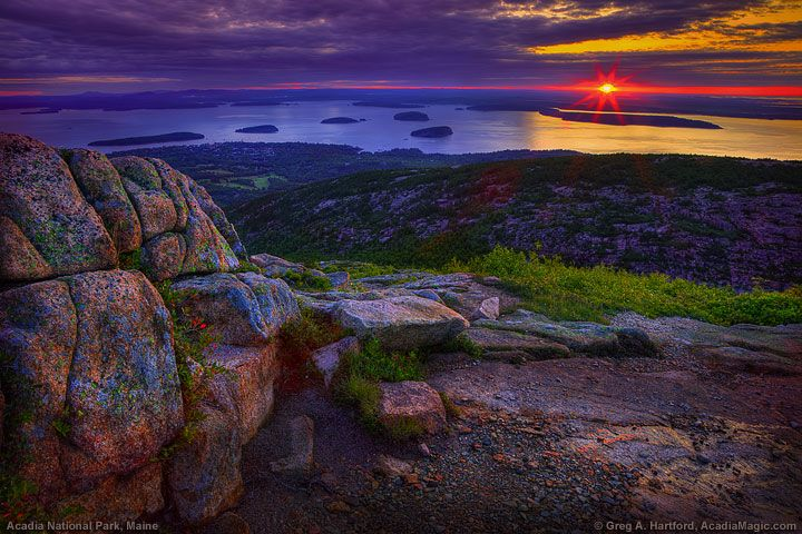 Cadillac Mountain sunrise hike--Cadillac Mountain in Acadia NP sees sunrise before any other spot in the country.