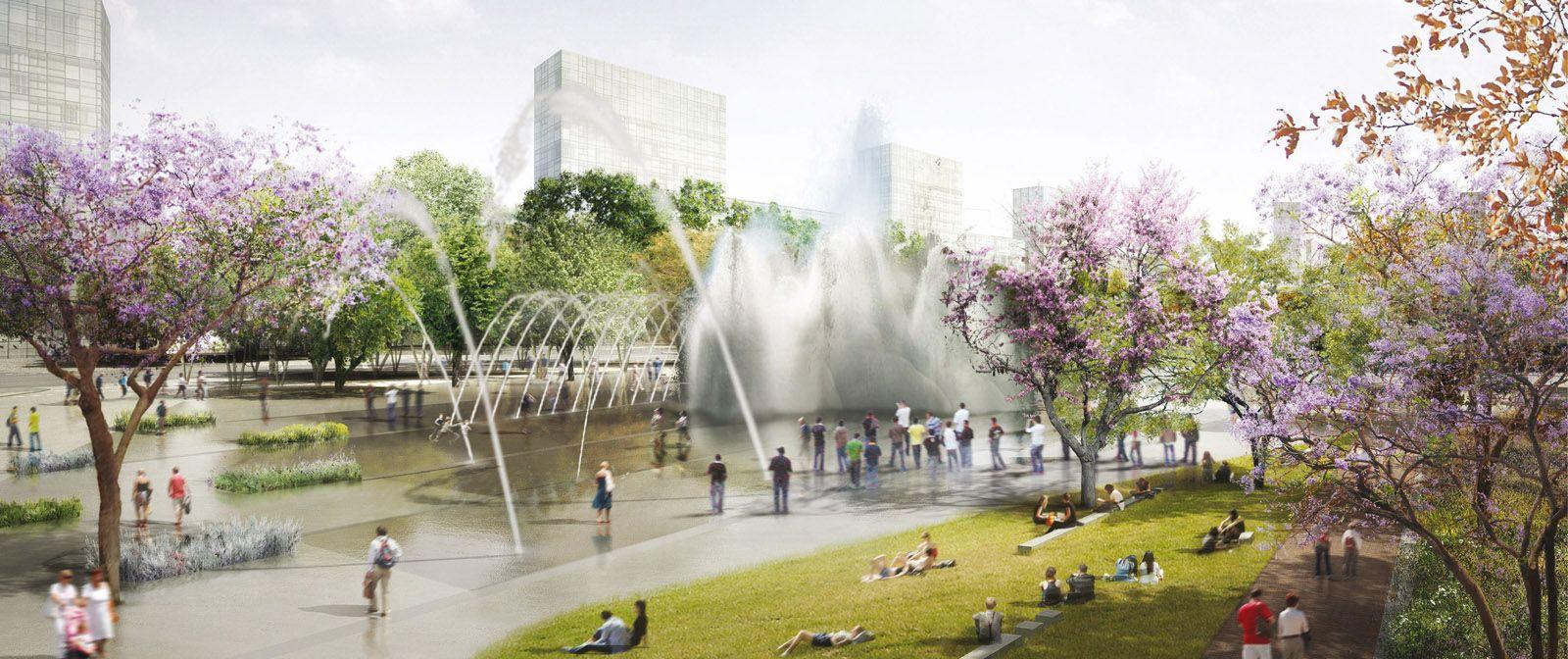 Water Fountain In Rendering Google Search Urban Landscape Public Architecture Linear Park