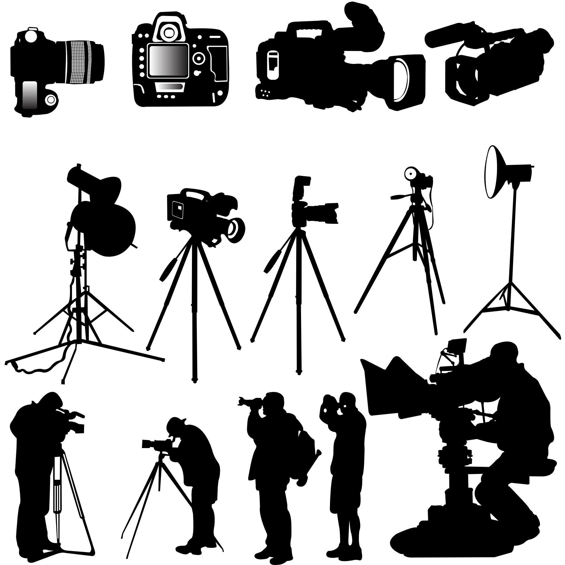 14 Silhouettes Photographer Tatoo, Design vector, Camera