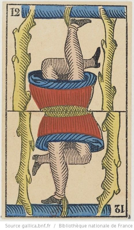"""[Jeu de tarot à enseignes italiennes, dit """"de Marseille"""", au portrait à deux têtes] : [jeu de cartes, estampe] Éditeur : B. P. Grimaud (Paris) Date d'édition : 1860-1899 Sujet : Tarot (jeu) Type : image fixe,estampe Langue : zxx Format : 78 cartes à jouer, 1 enveloppe : lithographie coloriée au pochoir ; 10,8 x 6,5 cm Format : image/jpeg Droits : domaine public Identifiant : ark:/12148/btv1b105203392"""