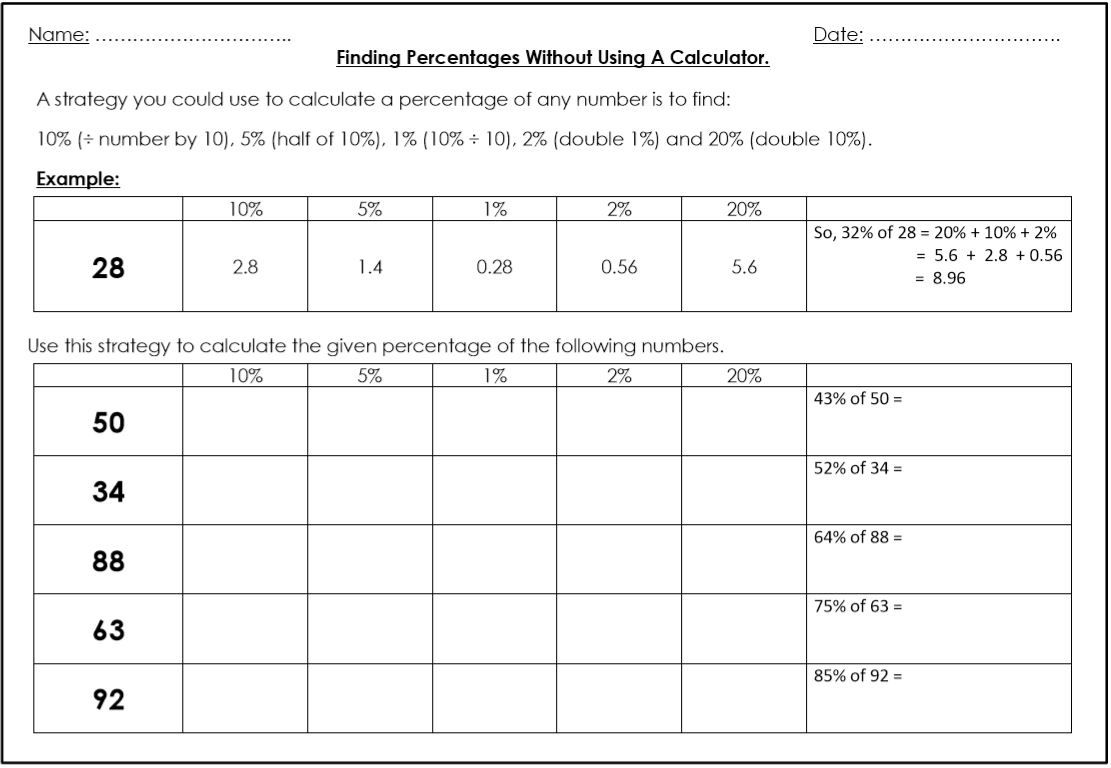 Calculate Percentages Without A Calculator
