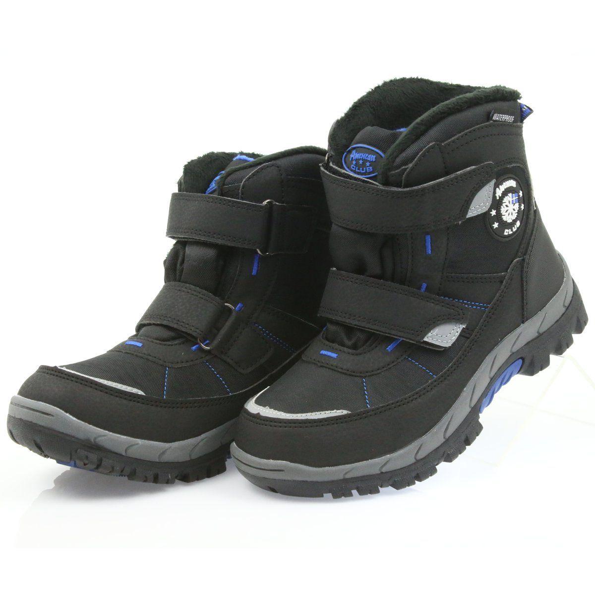 American Club American Kozaki Buty Zimowe Z Membrana 1122 Czarne Niebieskie Boots Shoes Winter Boot